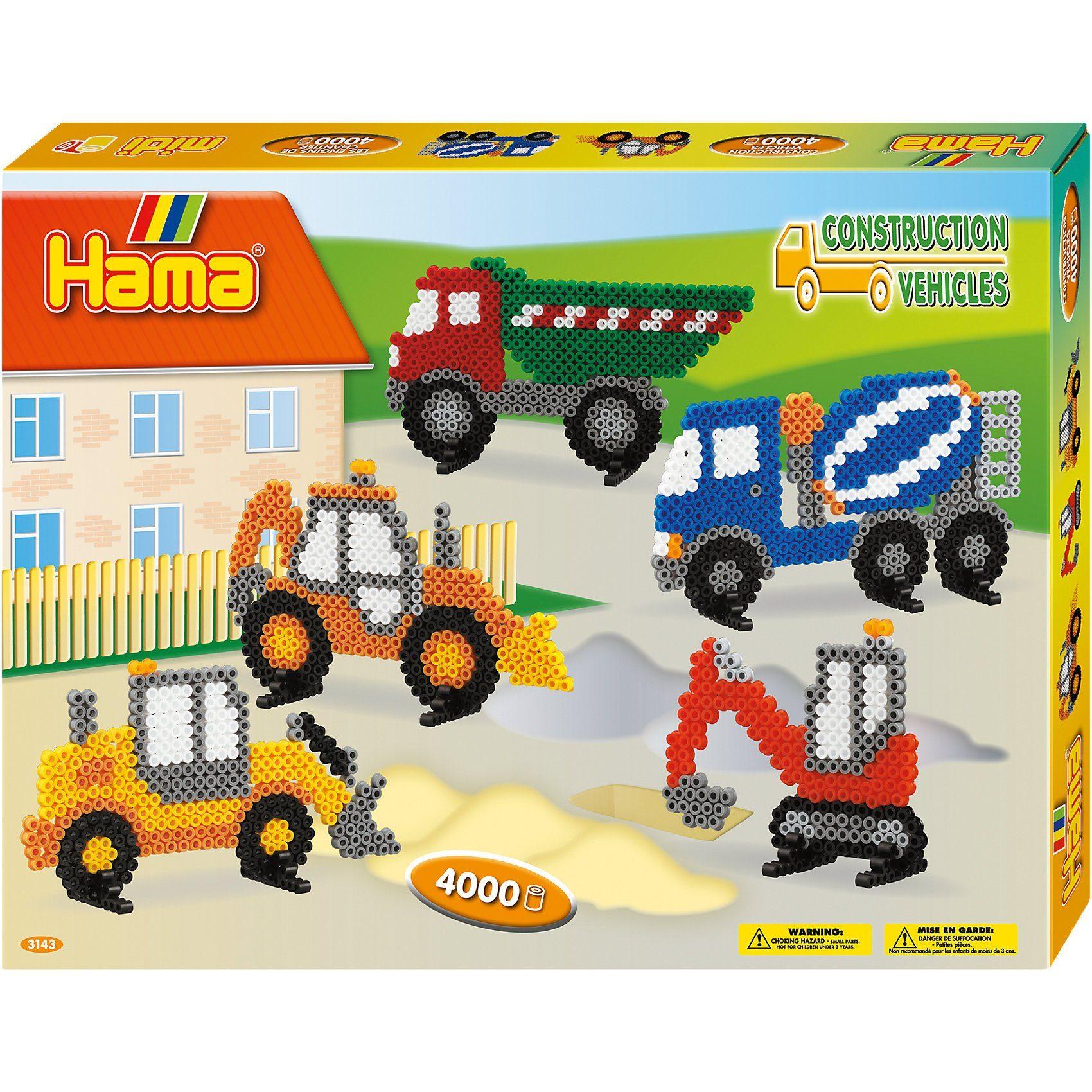 Hama Perlen HAMA 3143 Geschenkset Baufahrzeuge, 4.000 midi-Perlen & Zube