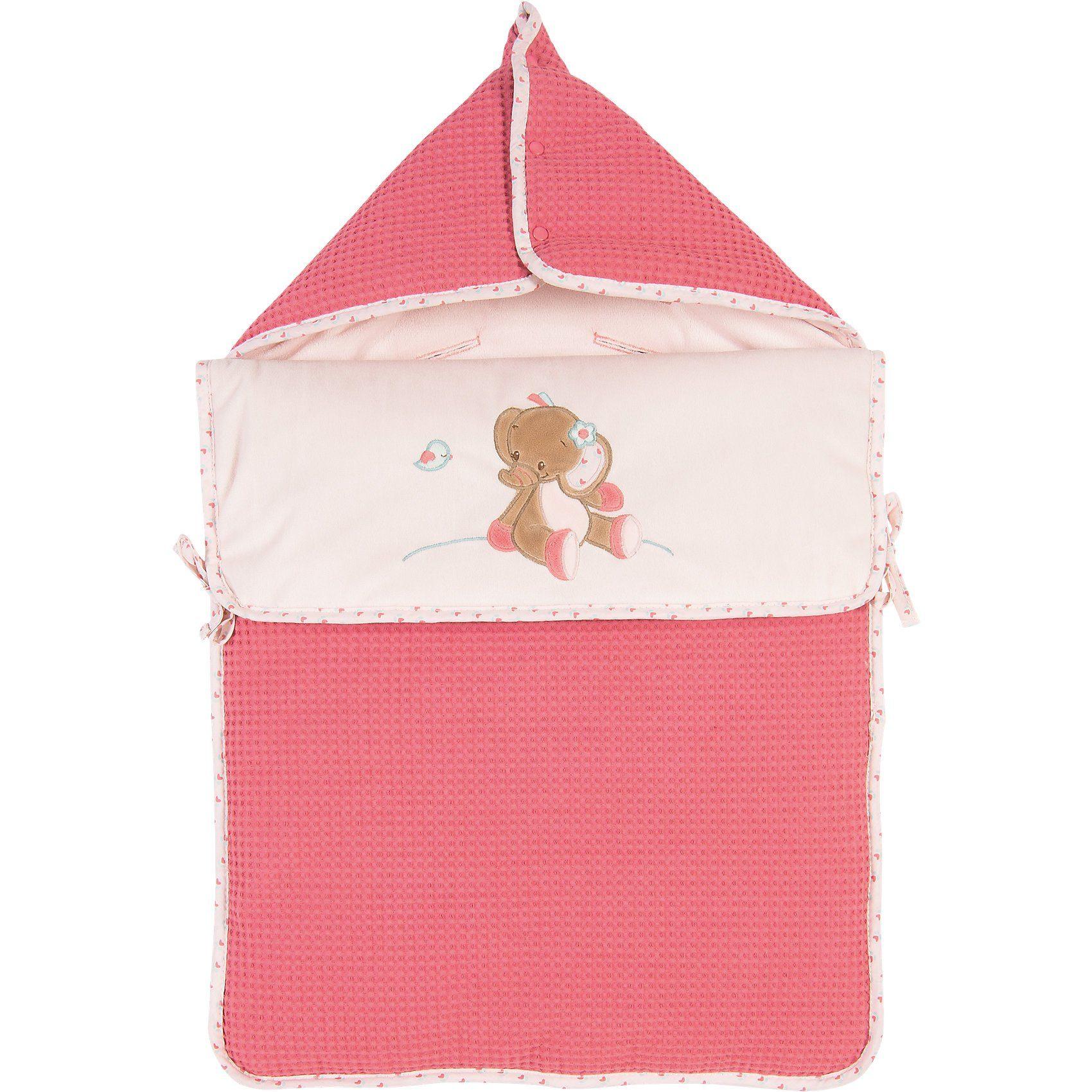 Nattou Einschlagdecke für Babyschale Elefant Rose, Charlotte & Rose