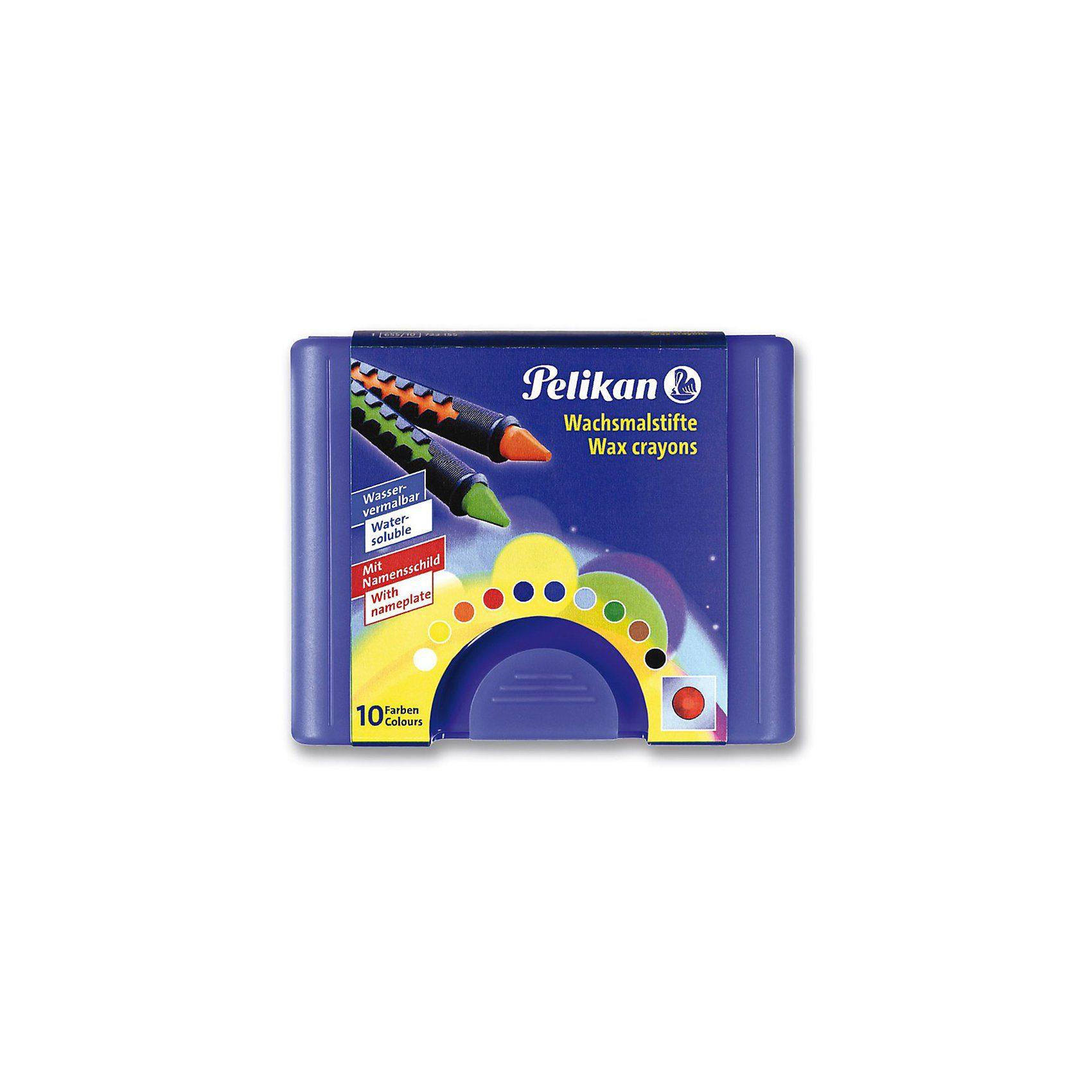 Pelikan Wachsmalstifte, wasservermalbar, Box mit 10 Farben
