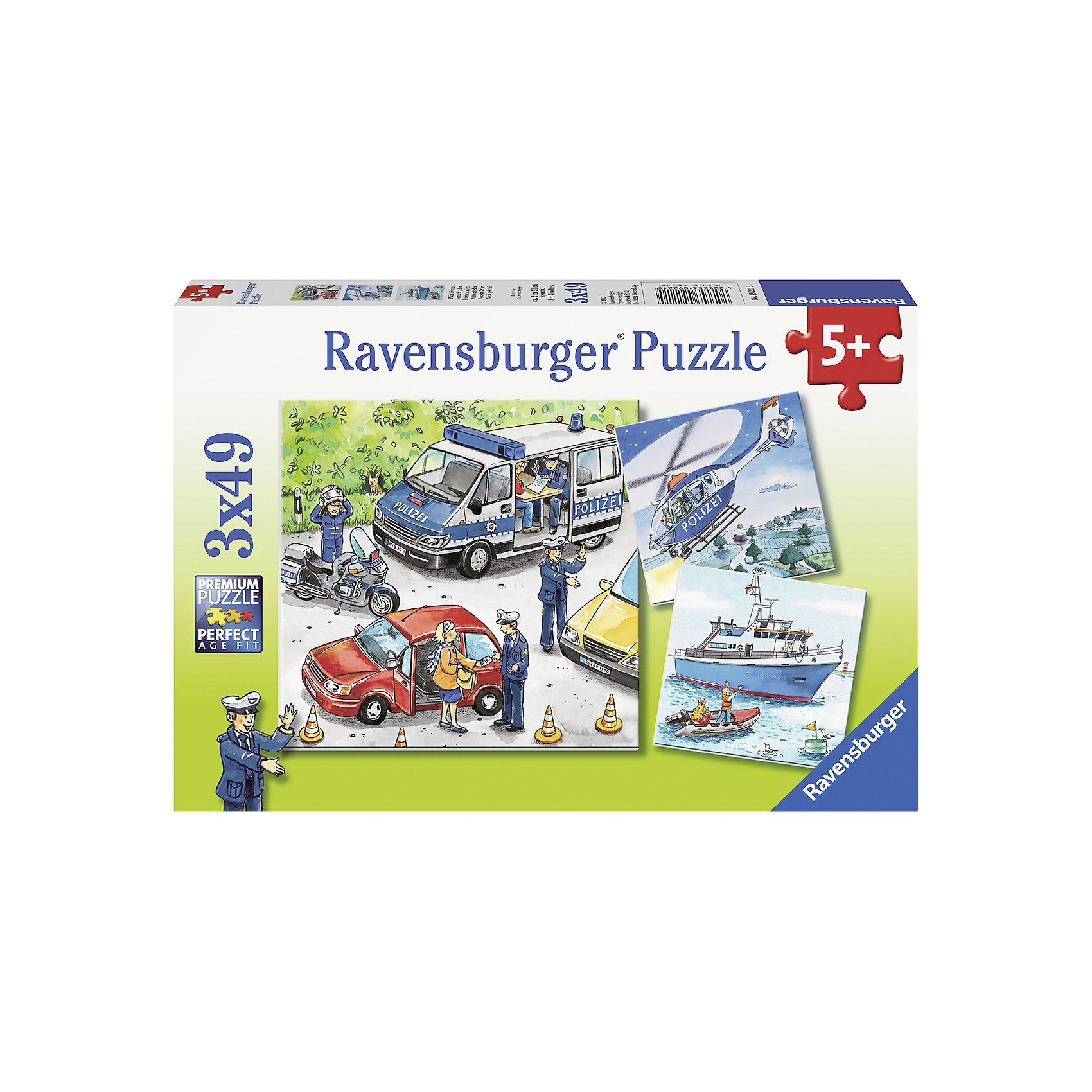 Ravensburger Puzzle-Set - 3 x 49 Teile- Polizeieinsatz