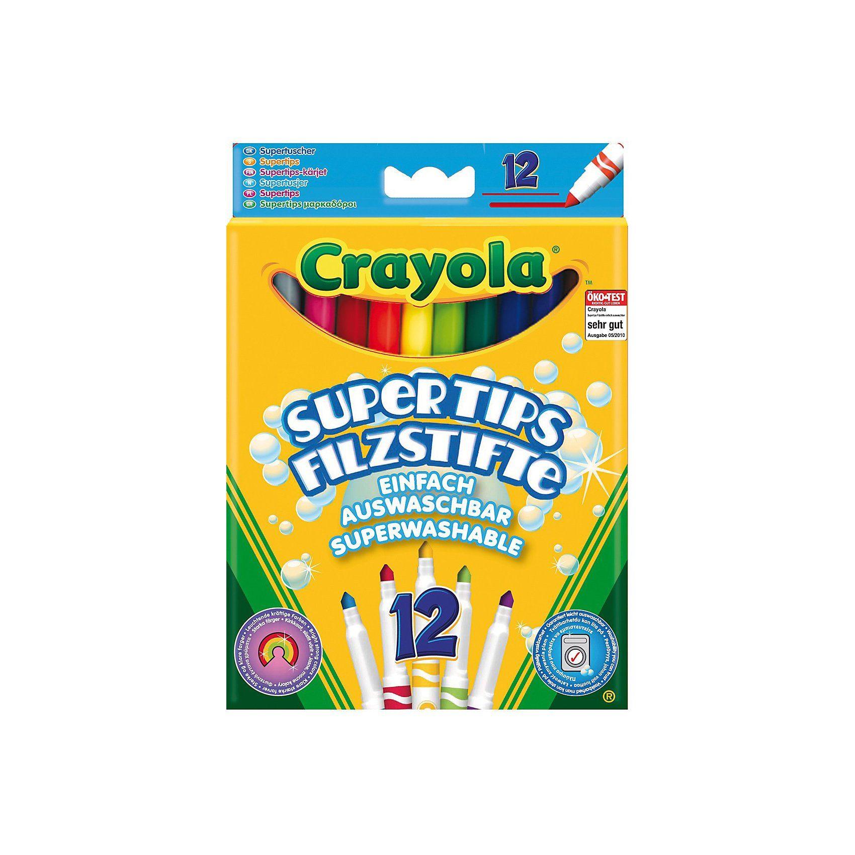 Crayola Filzstifte Supertips auswaschbar, 12 Farben