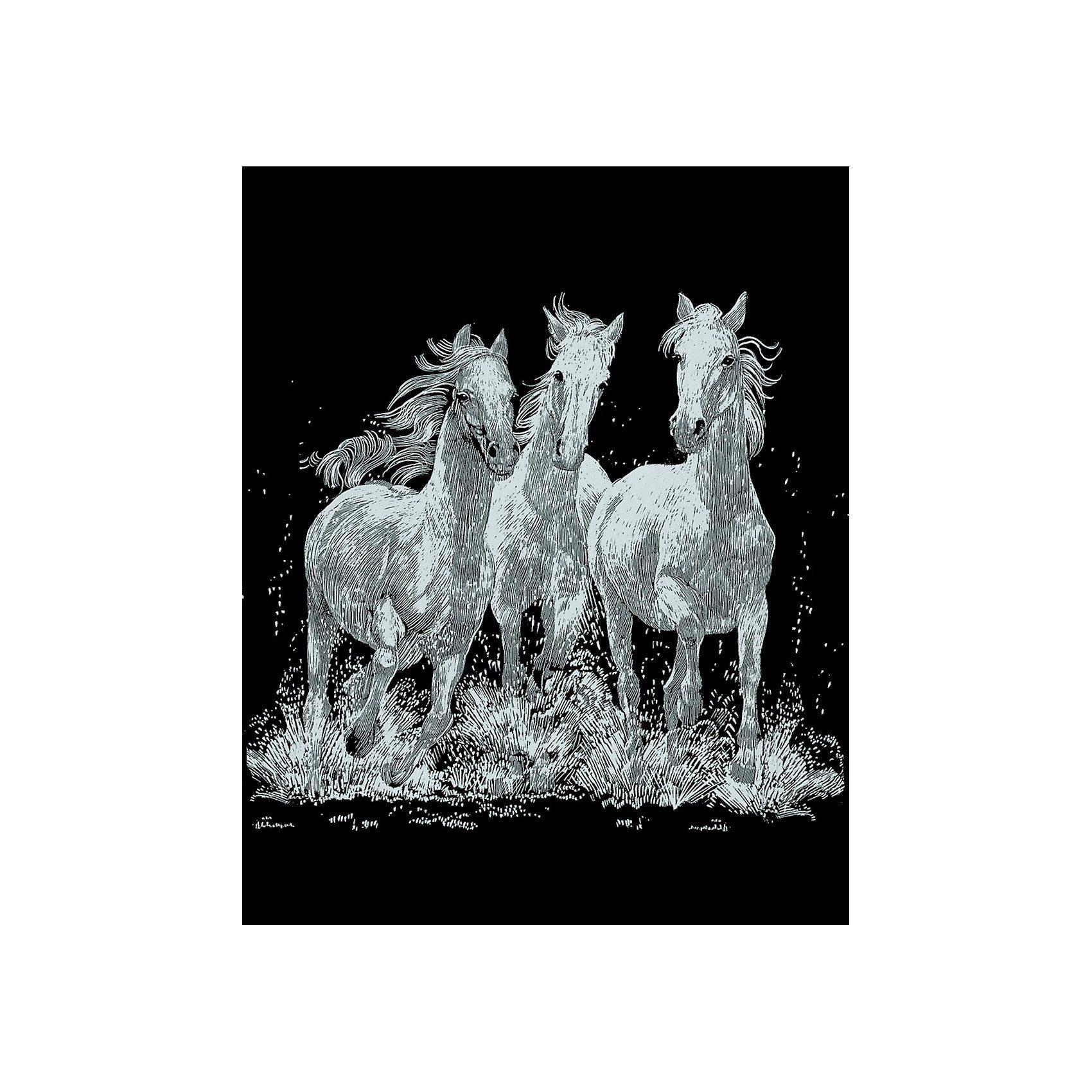 MAMMUT Spiel und Geschenk Scraper Silber-Kratzbild Pferde