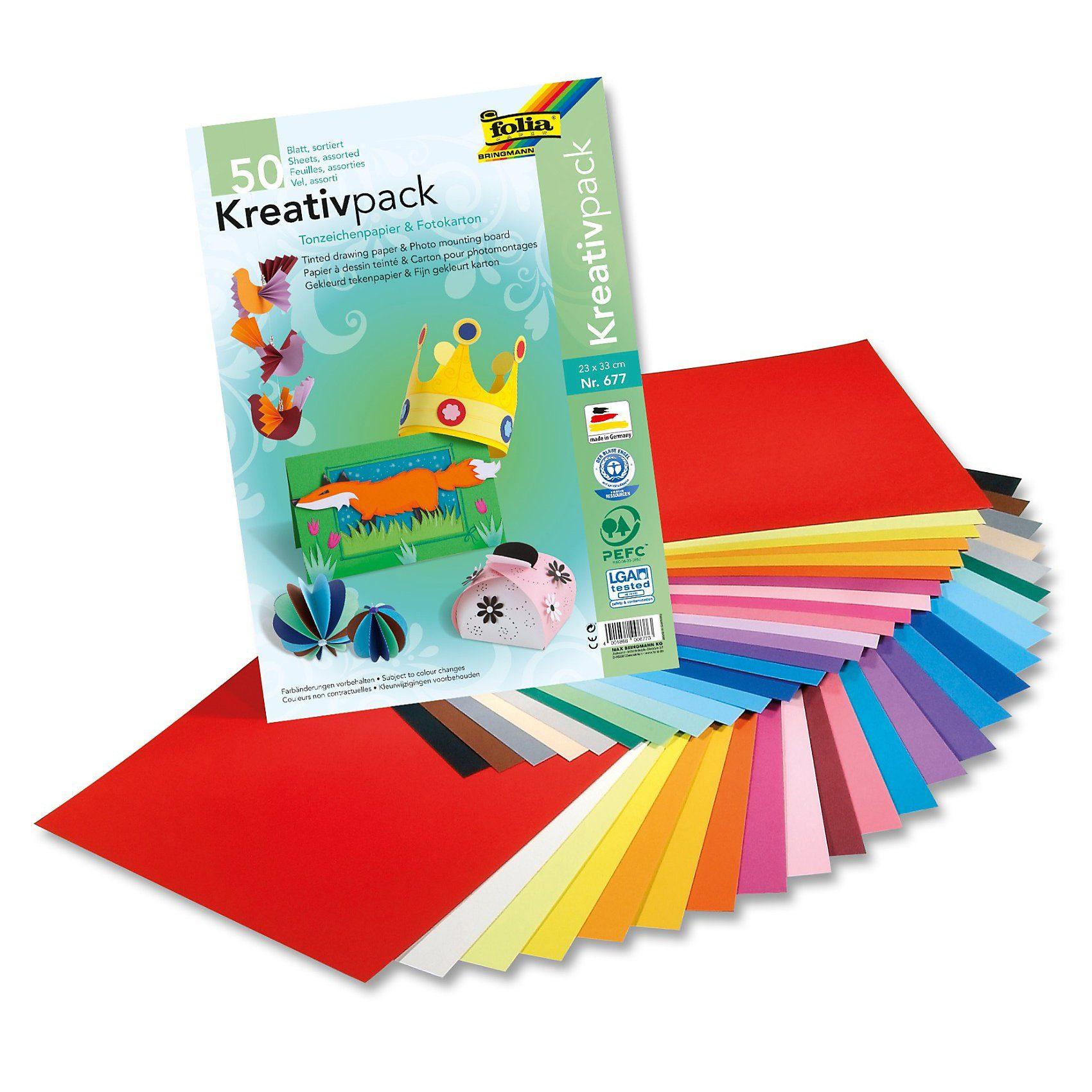 Folia Kombipack XL Tonpapier/Fotokarton, 50-tlg.