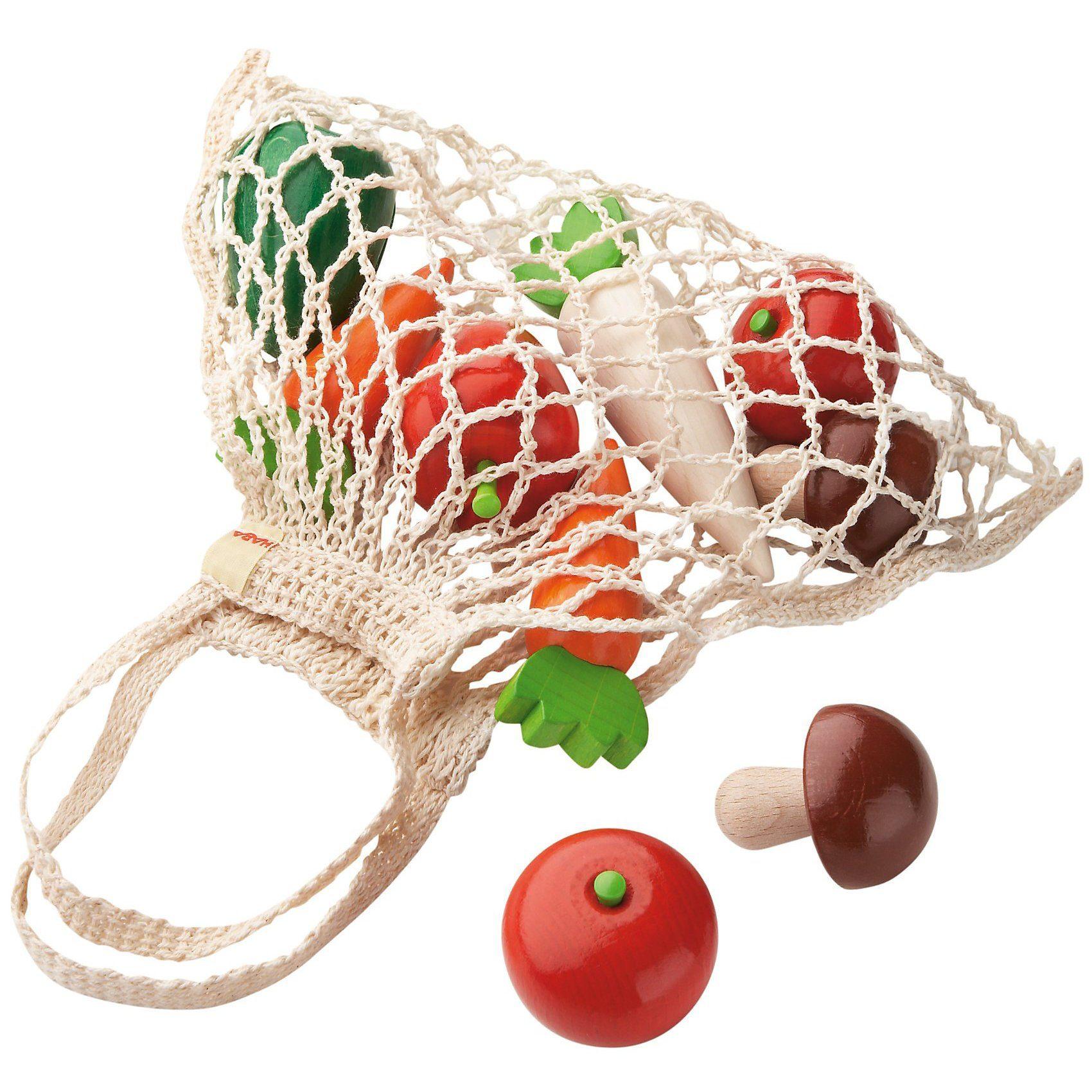 Haba 3841 Einkaufsnetz Gemüse mit Spiellebensmittel
