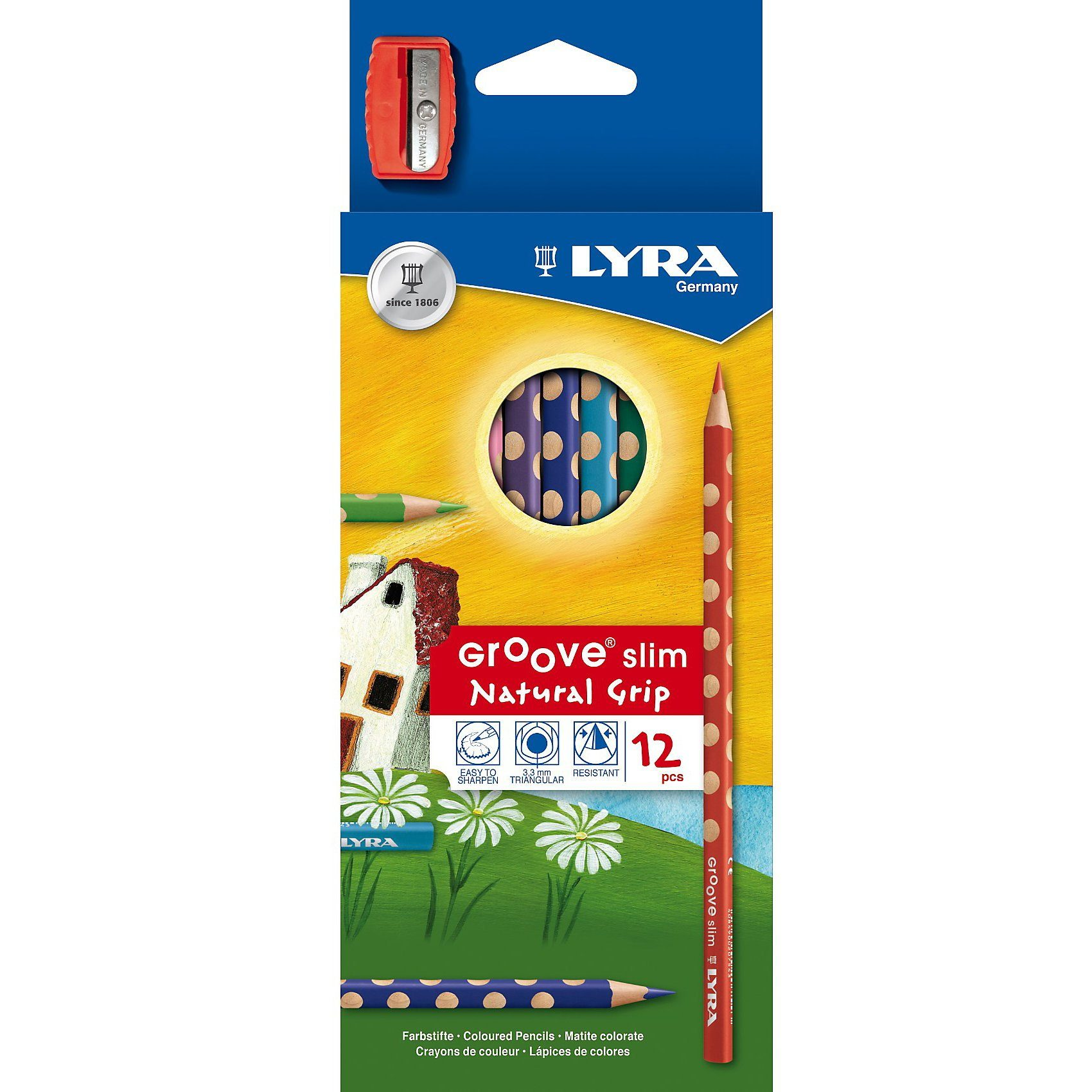 LYRA GROOVE slim Natural Grip Farbstifte, 12 Farben, inkl. Anspit
