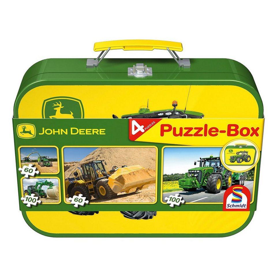 Schmidt Spiele John Deere, Puzzle-Box 2x60, 2x100 Teile im Metallkoffer