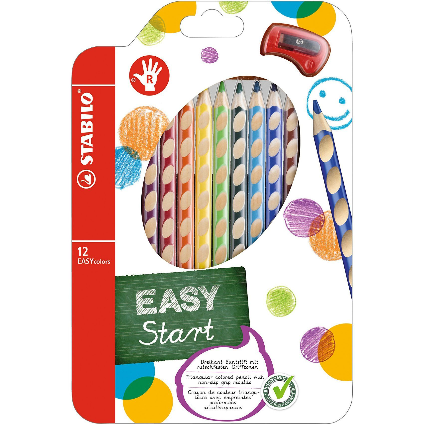 Stabilo Buntstift EASYcolors R, inkl. Spitzer, 12 Farben