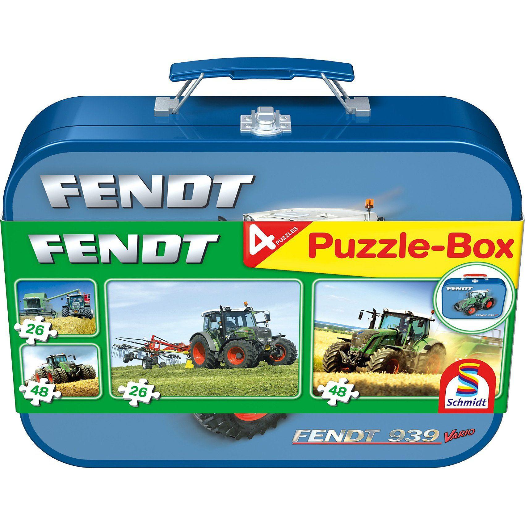 Schmidt Spiele Fendt, Puzzle-Box 2x26, 2x48 Teile im Metallkoffer