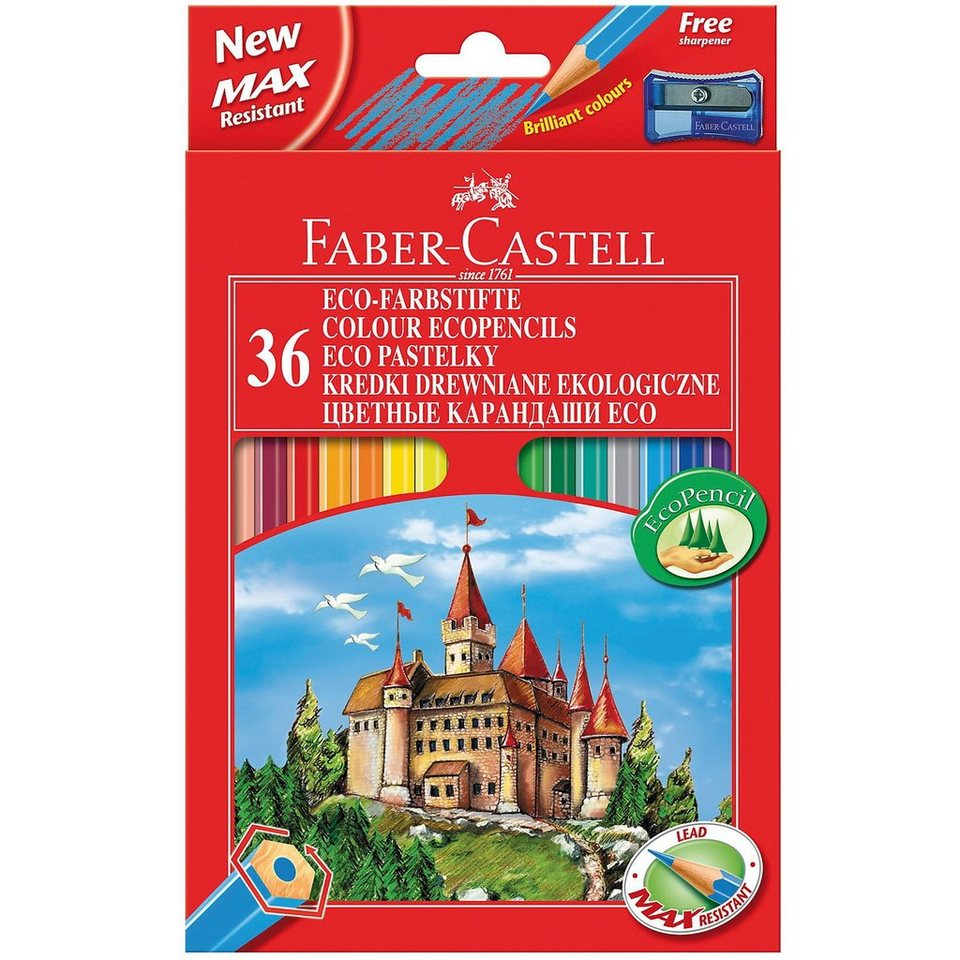 Faber-Castell ECO-Buntstifte, 36 Farben inkl. Spitzer