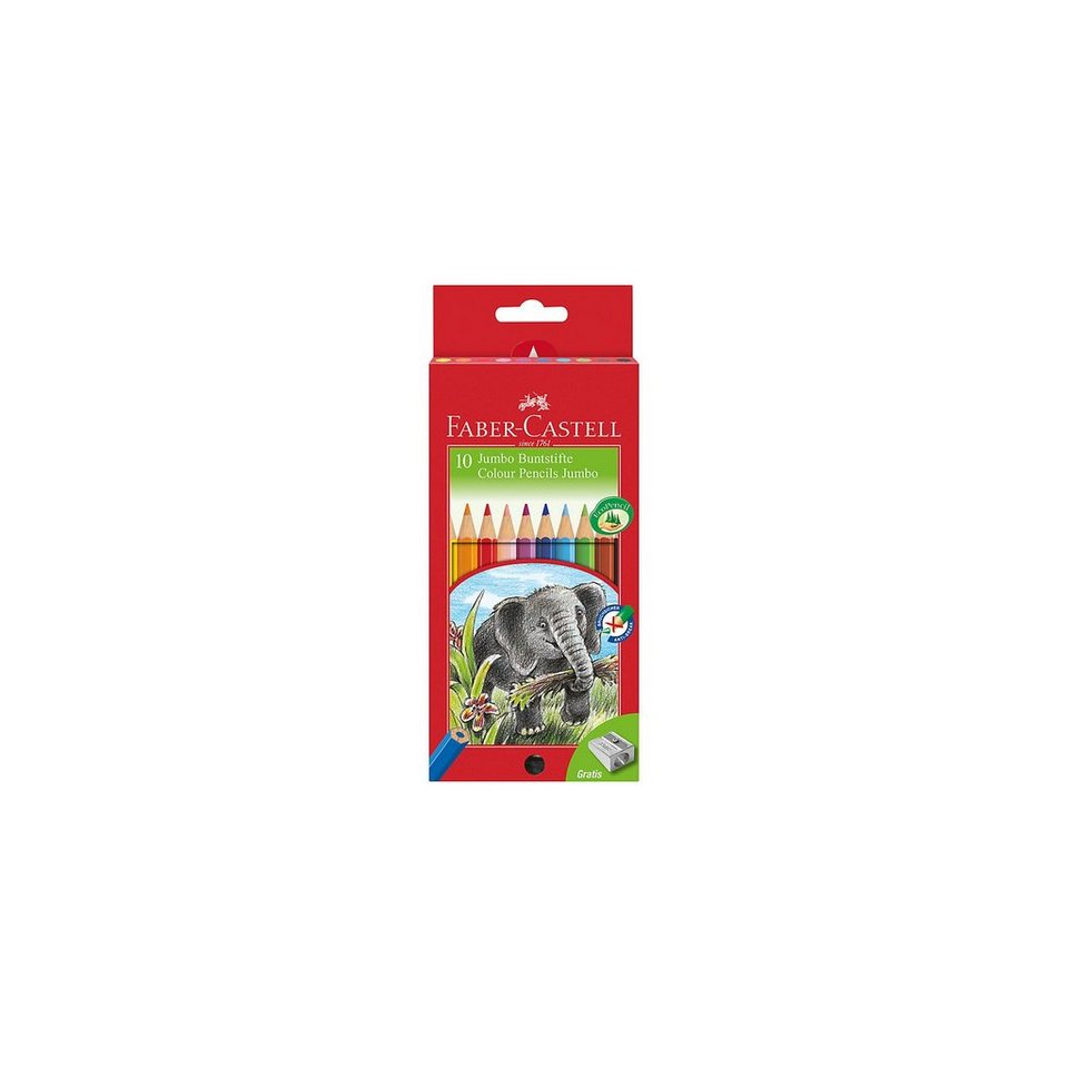 Faber-Castell JUMBO Buntstifte, 10 Farben, inkl. Spitzer