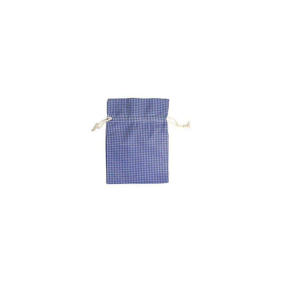 Hotex Baumwollbeutel 13 x 18 cm blau/weiß-kariert, 12 Stück