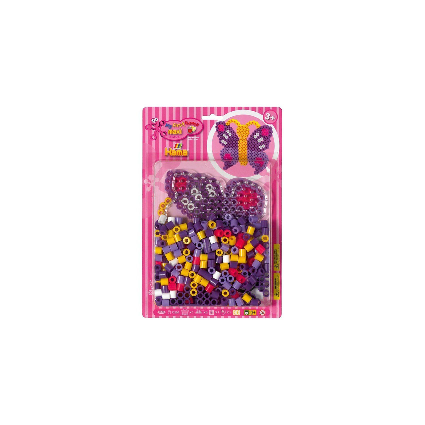 Hama Perlen HAMA 8908 Blister Schmetterling, 250 maxi-Perlen & Zubehör