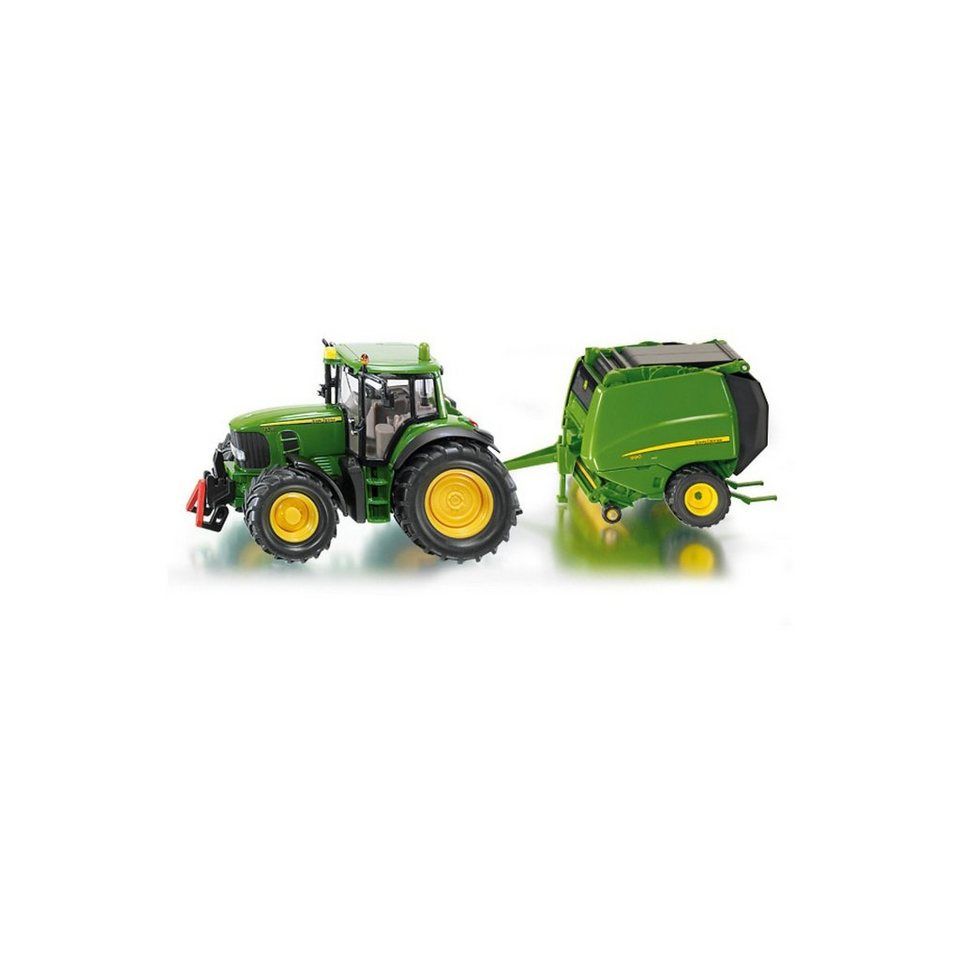 SIKU 1665 John Deere Traktor mit Ballenpresse