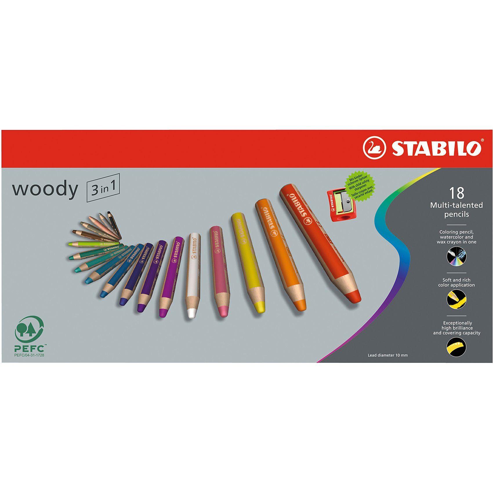Stabilo Buntstift woody 3 in 1, 18 Farben