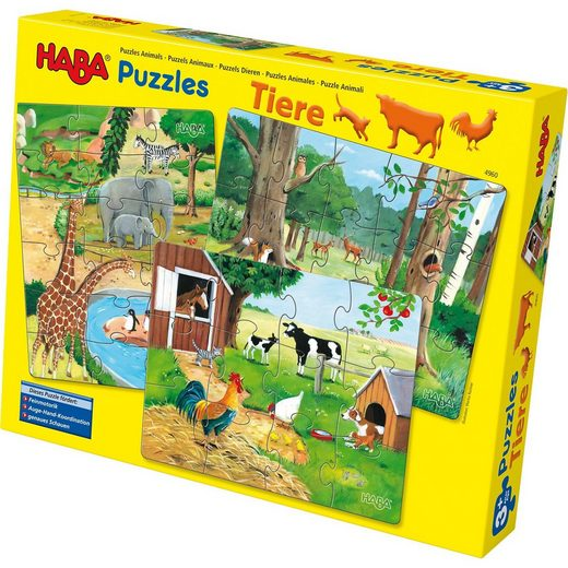 Haba 3 in 1 Puzzle-Set Tiere