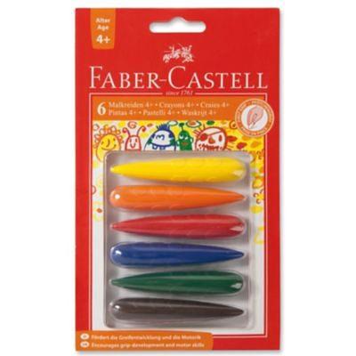 Faber-Castell Kindergarten-Wachsmalkreiden, Fingerform, 6 Farben