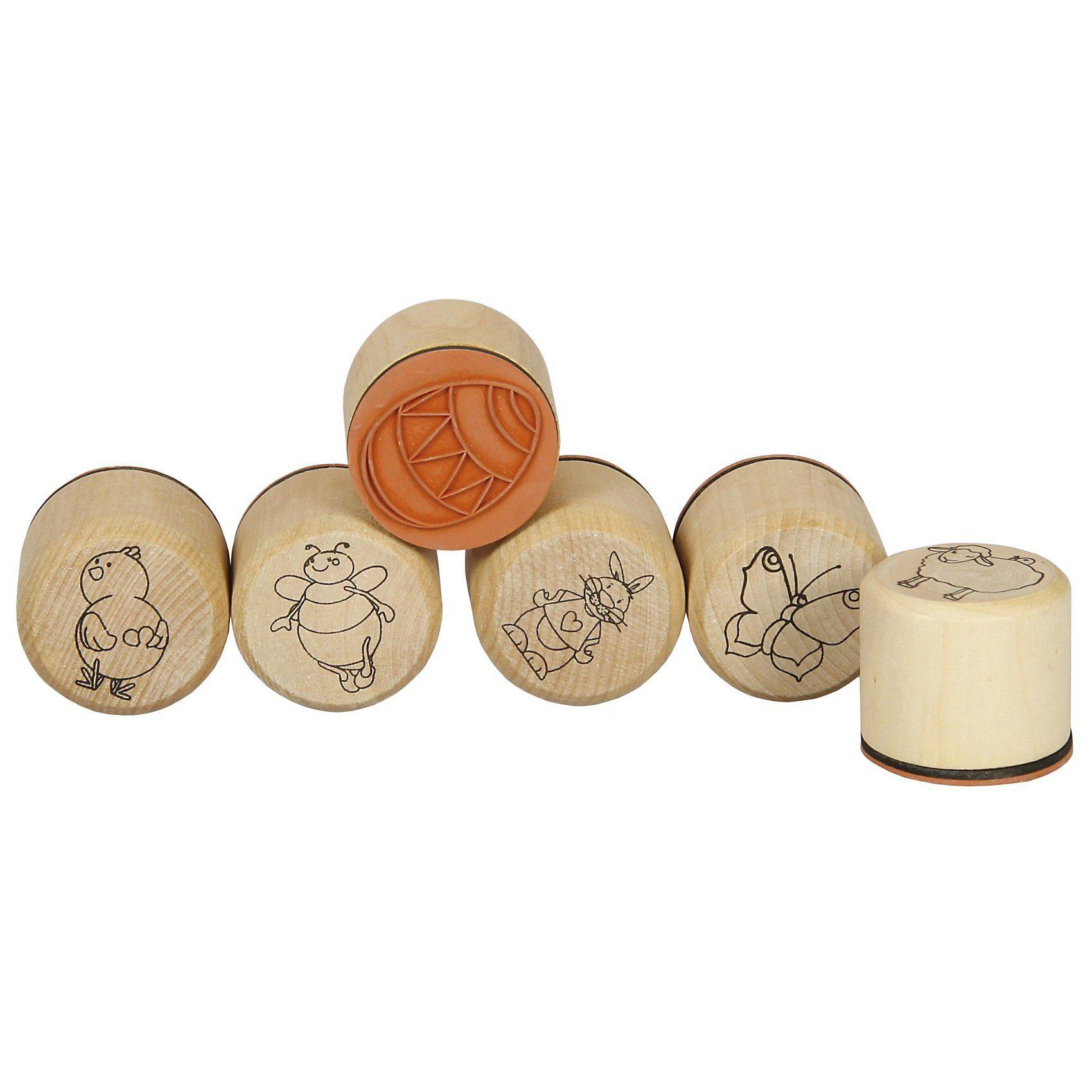 SUNNYSUE Mini-Holzstempel Ostern, 6 Stück
