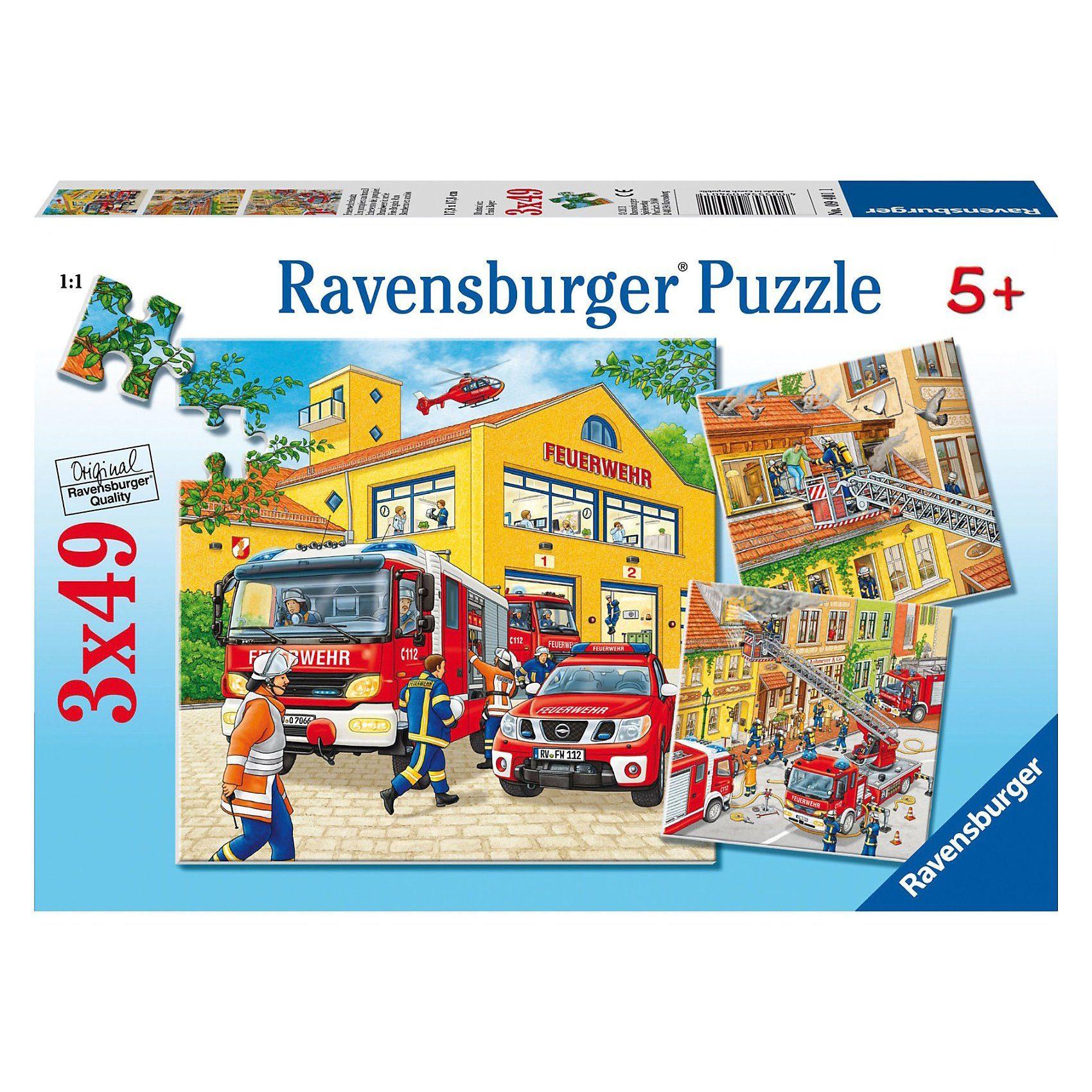 Ravensburger Puzzle 3 x 49 Teile Feuerwehreinsatz
