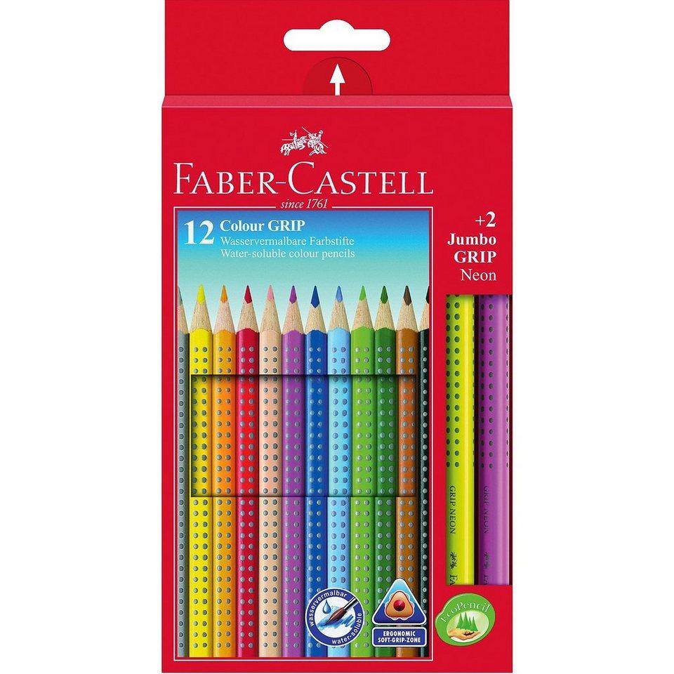 Faber-Castell COLOUR GRIP Farbstifte wasservermalbar, 12 & 2 Neonfarben