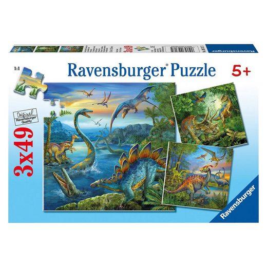 Ravensburger 3er Set Puzzle, je 49 Teile, 21x21 cm, Faszination Dinosauri