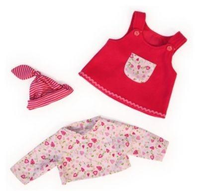 BAYER Puppenkleidung Kleid, Shirt und Mütze, 38cm