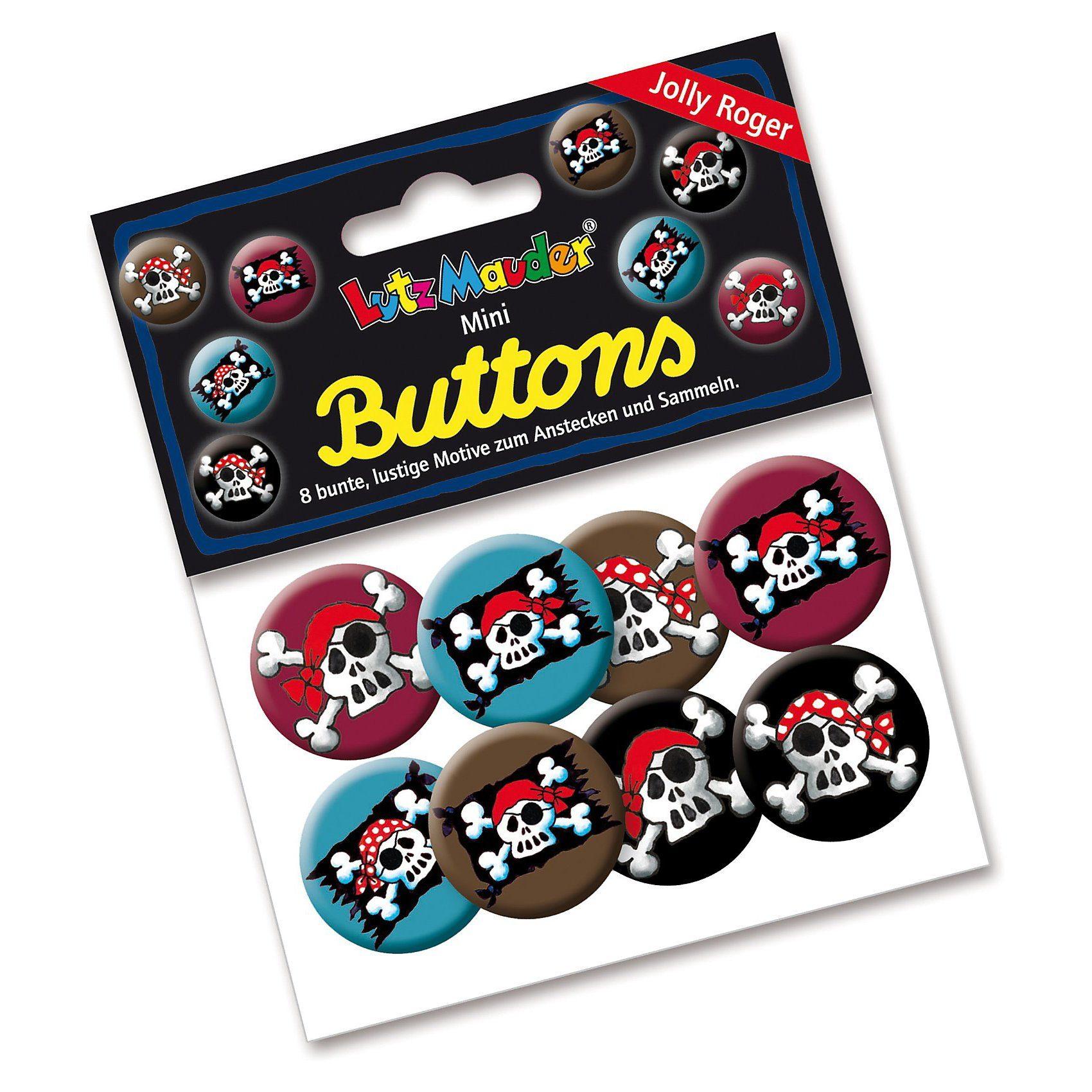 Lutz Mauder Verlag Mini-Button-Set Pirat Jolly Roger, 8 Stück