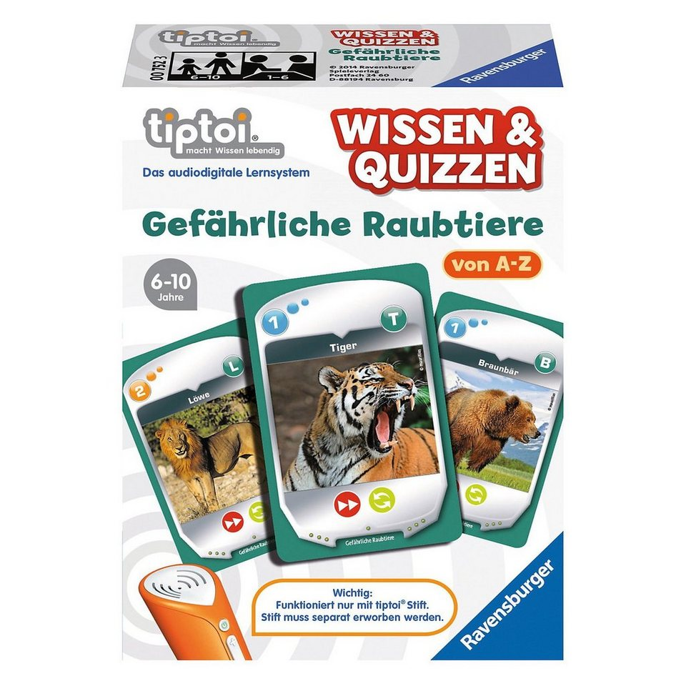 Ravensburger tiptoi® Wissen & Quizzen: Raubtiere (ohne Stift)