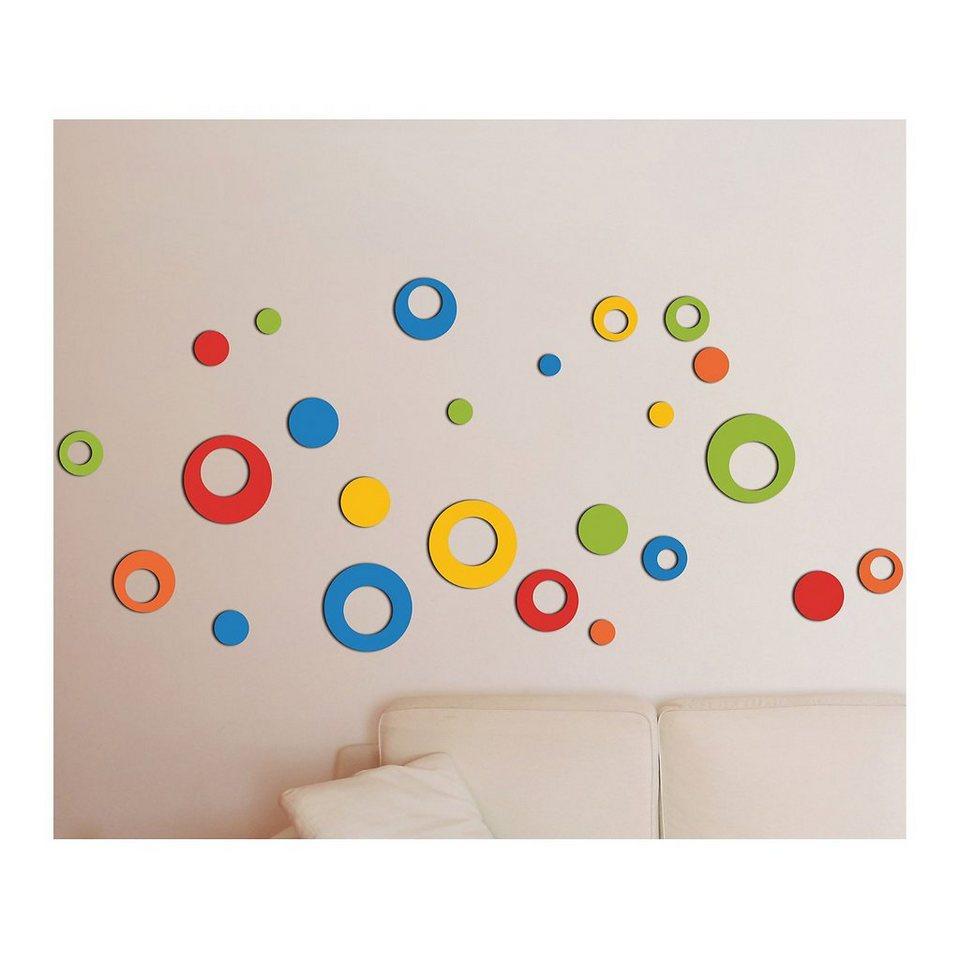 Wandsticker 3D bunte Kreise, 24-tlg. in mehrfarbig