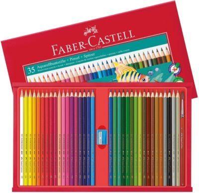 Faber-Castell AquarellBuntstifte, 35 Farben, inkl. Pinsel & Spitzer, Holz-