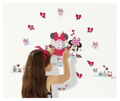 WORLDS APART Wanduhr mit Leuchtstickern, Minnie Mouse, 51-tlg.