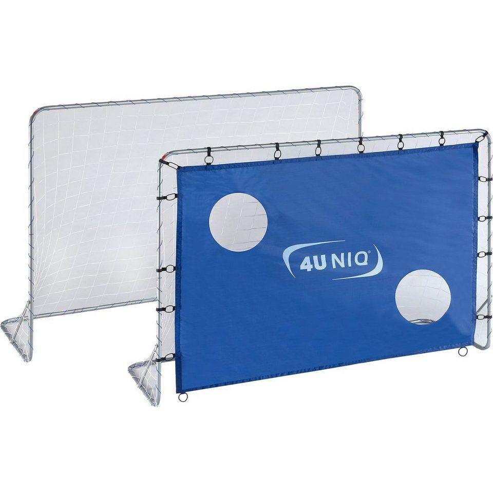 4UNIQ 2 Fußballtore 213 cm inkl. einer Torwand in blau