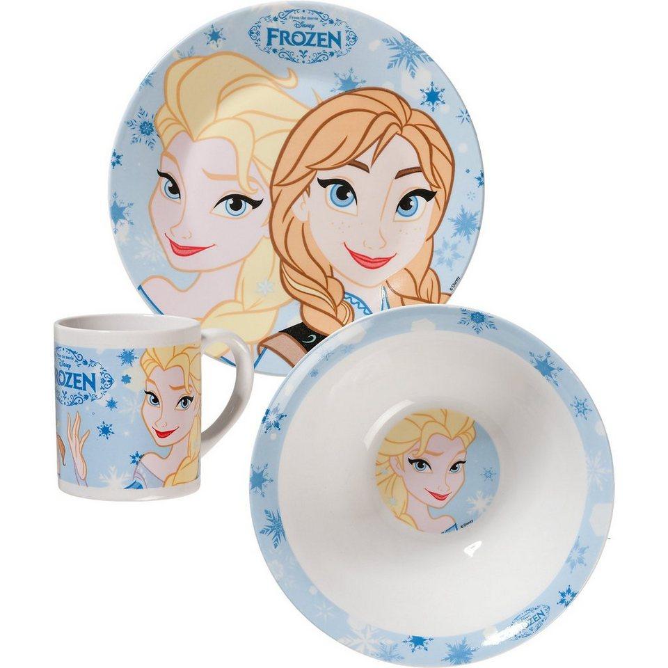 P:OS Kindergeschirr Keramik Die Eiskönigin, 3-tlg. in blau