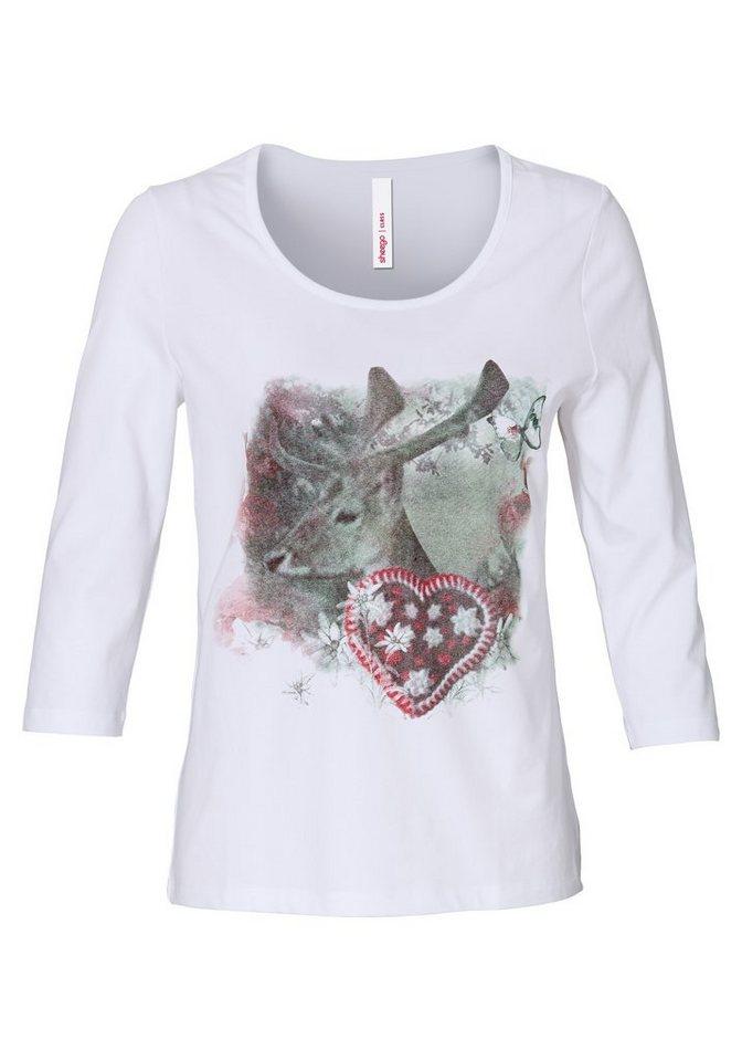sheego Style Bedrucktes Trachtenshirt in weiß
