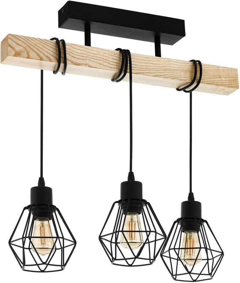EGLO Deckenleuchte »TOWNSHEND 5«, schwarz / L55 x H36 x B20 cm / exkl. 3 x E27 (je max. 60W) / Hängelampe aus Holz und Metall - Pendellampe - Pendelleuchte - Esstischlampe - Lampe für Esstisch - Wohnzimmerlampe - Retro - Vintage - Rustikal