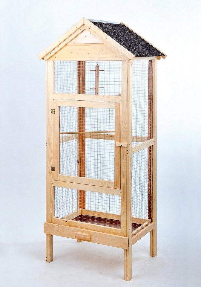 Vogelkäfig »Holzvoliere« (B/T/H:63/46/160 cm) in natur