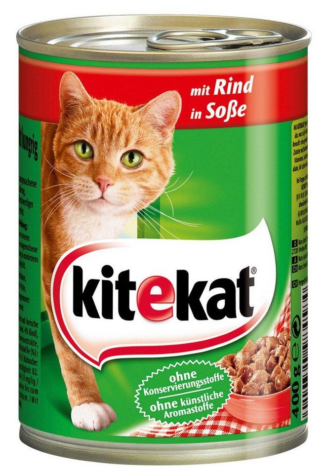 Set: Katzennassfutter »Rind in Sauce«, 12 Dosen á 400 g in braun