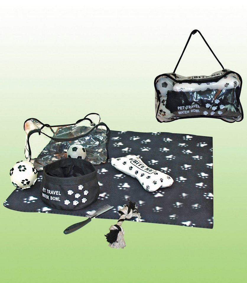 heim hunde reiseset reise set f r hunde mit tatzenmotiv. Black Bedroom Furniture Sets. Home Design Ideas
