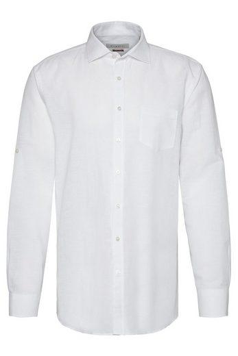 Schlussverkauf bugatti Langarmhemd aus leichtem Leinen-Baumwoll-Mix