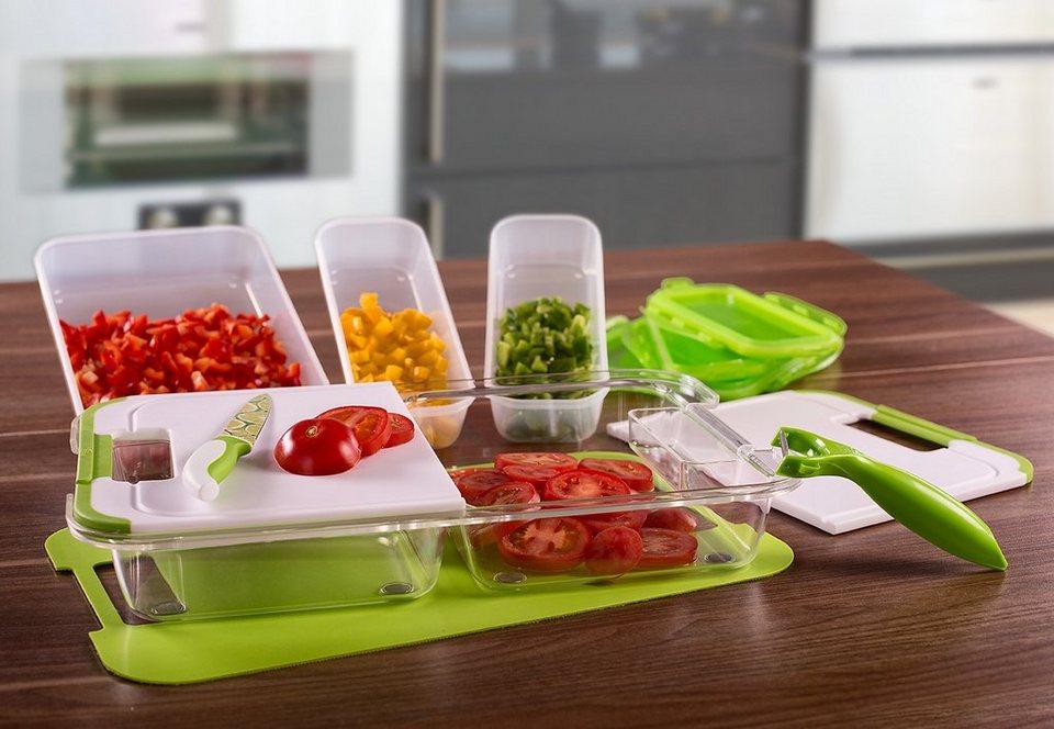 Slice N Store Schneid- und Aufbewahrungs-System, Genius® (12tlg.) in grün/transparent