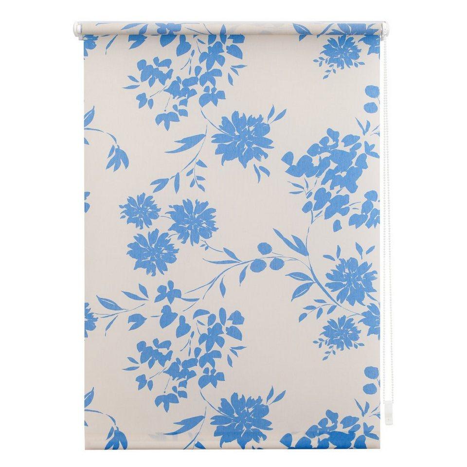 Seitenzugrollo, Lichtblick, »Klemmfix Dekor Vintage Flowers«, Lichtschutz, Fixmaß, ohne Bohren in blau