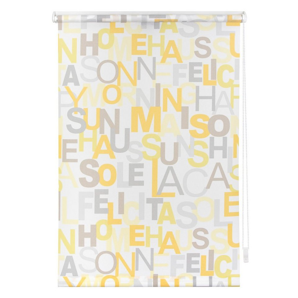 Seitenzugrollo, Lichtblick, »Klemmfix Dekor Happy Words« Lichtschutz, Fixmaß, ohne Bohren in gelb