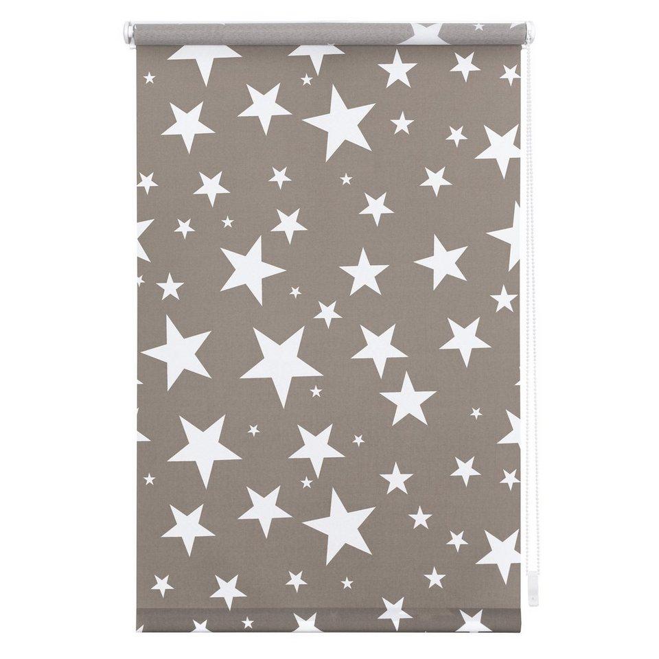 Seitenzugrollo, Lichtblick, »Klemmfix Dekor Sterne«, Lichtschutz, Fixmaß, ohne Bohren in grau