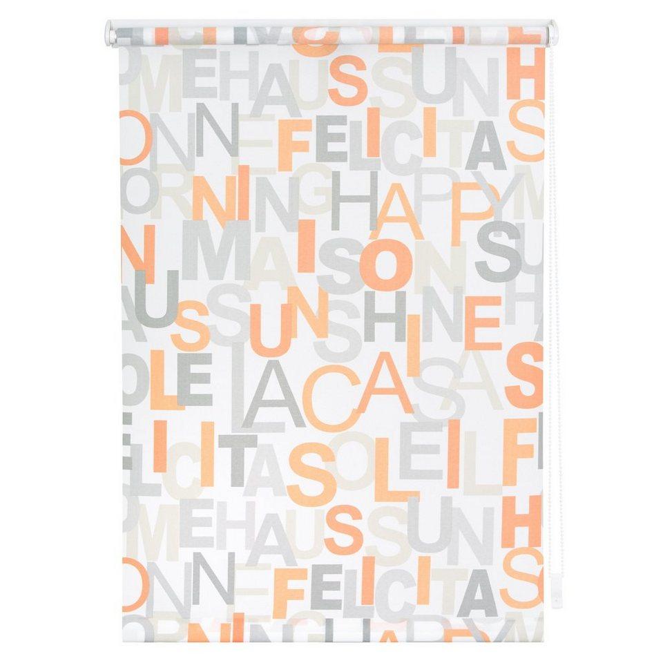 Seitenzugrollo, Lichtblick, »Klemmfix Dekor Happy Words« Lichtschutz, Fixmaß, ohne Bohren in orange