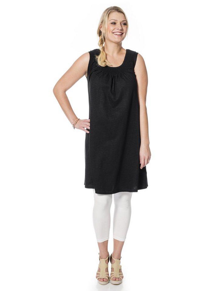 sheego Casual Shirtkleid mit Smok-Einsatz in schwarz