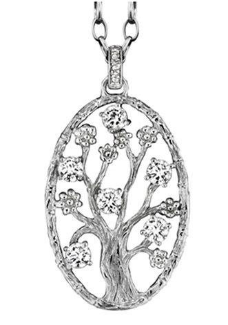 Julie Julsen Halsschmuck: Anhänger ohne Kette mit Zirkonia »Lebensbaum oval, JJ8719.2« in Silber 925