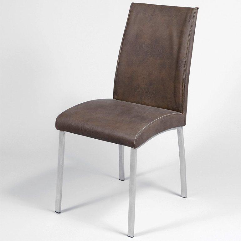 SalesFever Esszimmerstuhl im 2er Set Kunstleder Beine aus Edelstahl »Flato« in schwarz