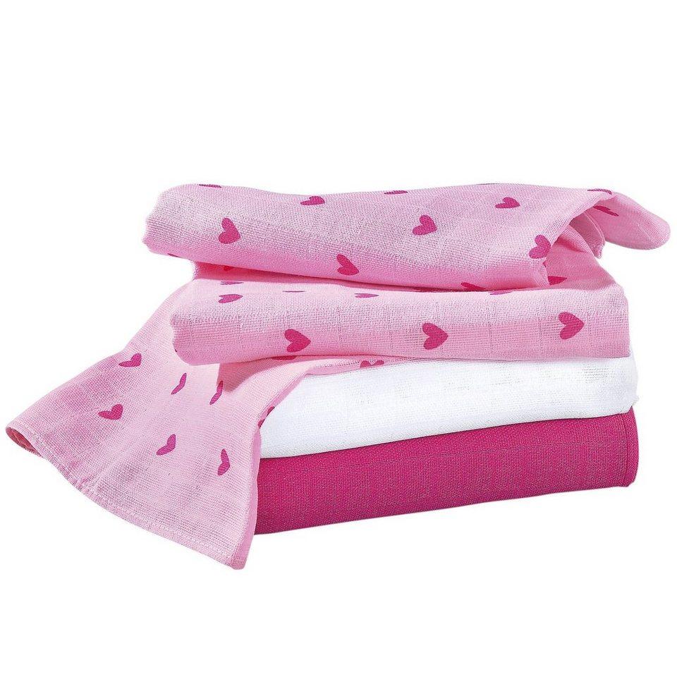 BORNINO Mullwindeln im 3er-Pack 80x80cm in rosa