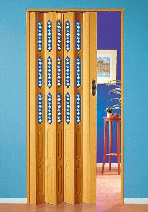 Kunststoff-Falttür »Dekor 3 Sole« Höhe nach Maß, buchefarben (mit Fenster)
