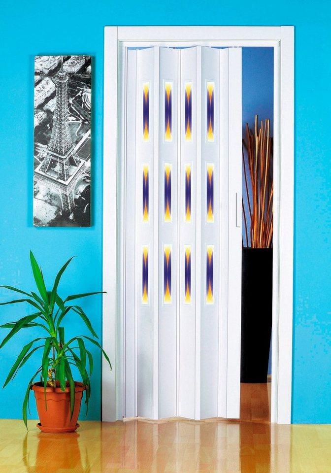 Kunststoff-Falttür Dekor 1 »Halbrund« Höhe nach Maß (mit Fenster)  in weiß