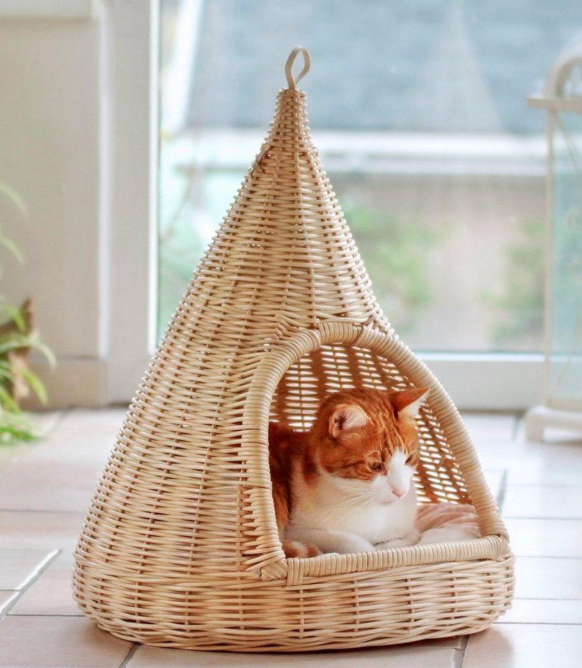 Katzenkorb »Rattan« in beige